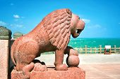 image of kanyakumari  - Huge  sculpted lion detail of Swami Vivekananda memorial - JPG