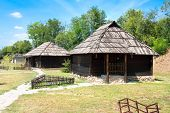 picture of velika  - Traditional timber serbian houses with Wooden Roof and stone base - JPG