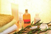 stock photo of body-lotion  - Beauty care products soap massage oil cream and towel