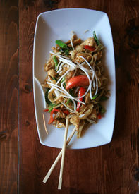 picture of stir fry  - Delicious Thai food lunch special in a restaurant - JPG