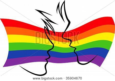 Gay Flag With Silhouetted Couple.eps