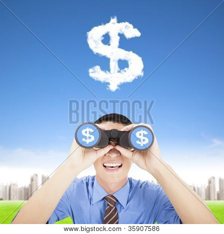 Happy Businessman Holding Binoculars And Watching The Money Cloud