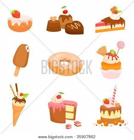 colección de ilustraciones lindos de varias tartas y dulces