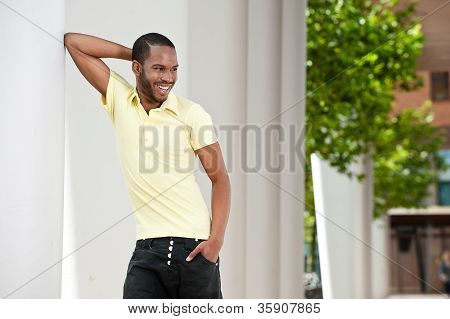 Young Man Smiling Outside