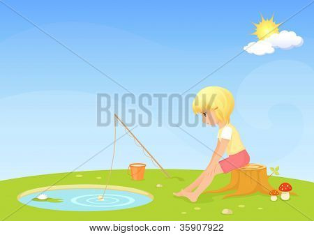 illustration for children - a cute blonde girl fishing in a small lake