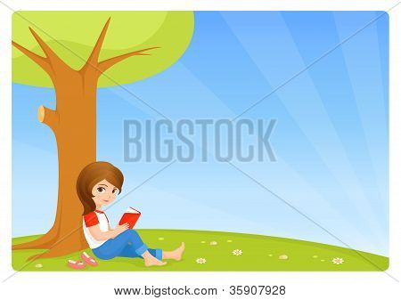 illustration of a cute small girl reading a book in the garden