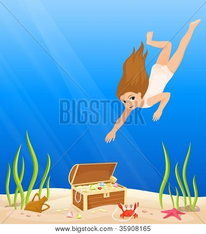 cute girl diving in the sea