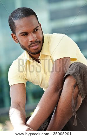 Young Black Male Sitting