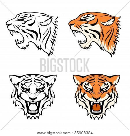 simple line illustrations of tiger head