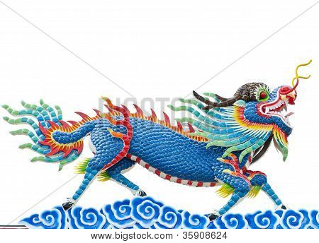 Chinese Style Blue Dragon Statue