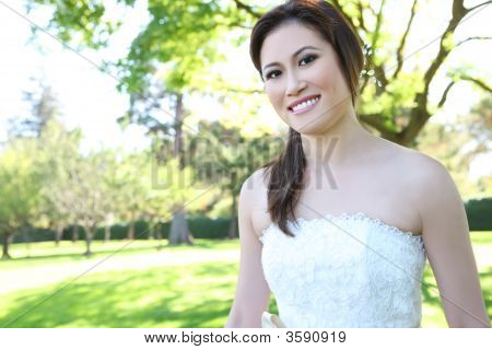 Beautiful Asian Wedding Bride In Park