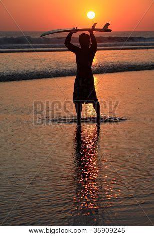 Surfer On Sunset