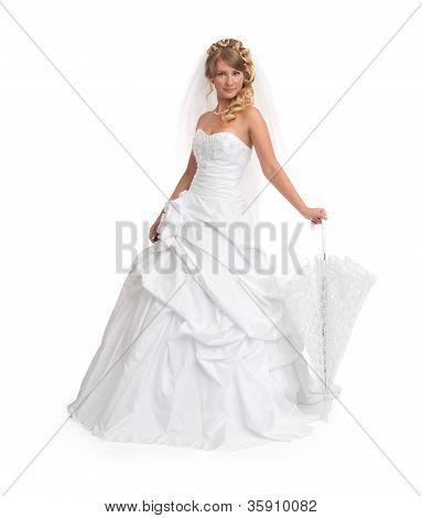 Bride Wearing Luxurious Wedding Dress