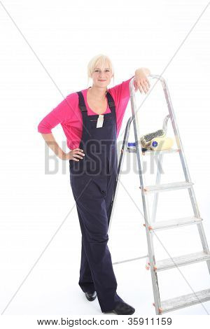 Woman Decorator Ready For Work