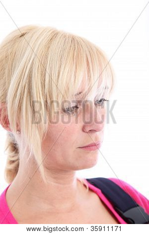 Sad Despondent Woman With Downcast Eyes
