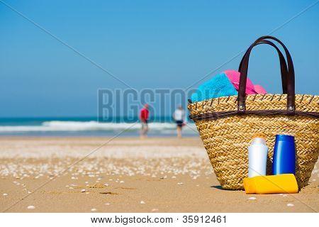Tela de sol na praia