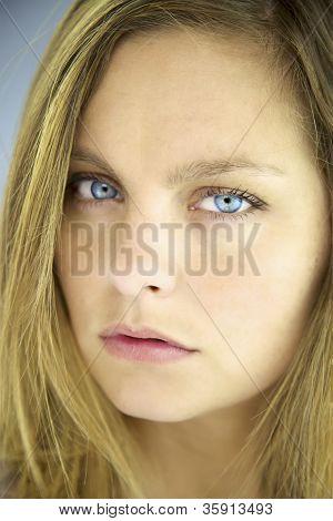 Closeup Of Serious Blonde Girl