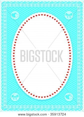 Blue oval frame with hearts