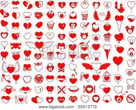 Enorme coleção de ícones de coração