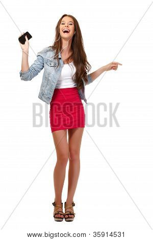 Happy Teenager With Earphone Isolated On White