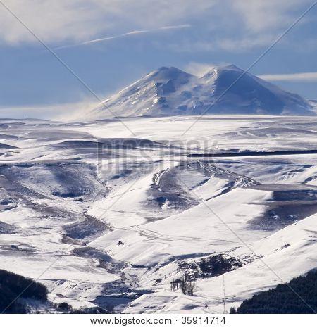 Mount Elbrus In Winter From Kislovodsk
