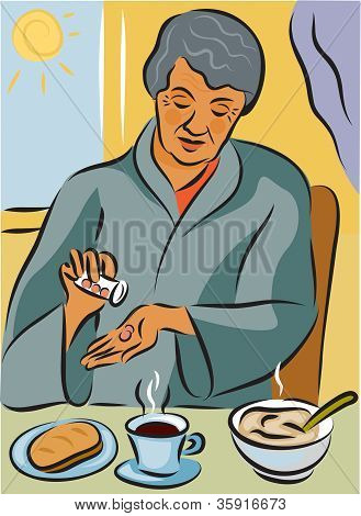 Elderly Woman Taking Her Medication With Her Meal