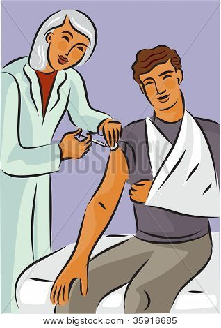 Doctor Giving A Needle Shot To A Man With A Broken Arm In A Sling