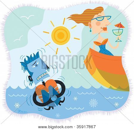 An Illustration Of A Man In Freezing Water While A Woman Is In A Boat Sipping Cocktails