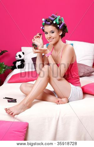 Young Teenager Girl Doing Her Professional Makeup At Home