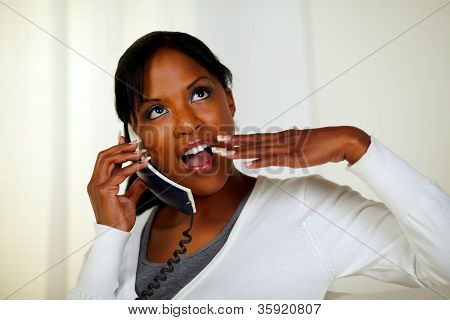 Surprised Pensive Woman Speaking On Phone