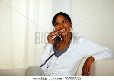 Afro-american Woman Speaking On Phone