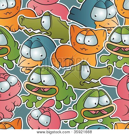 Vintage vector seamless pattern with cartoon animals.