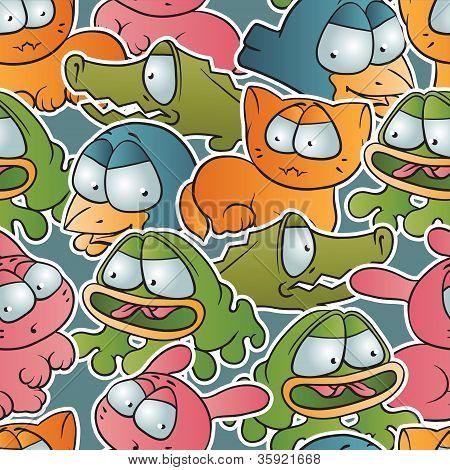 Vintage vector seamless pattern with cartoon animals.