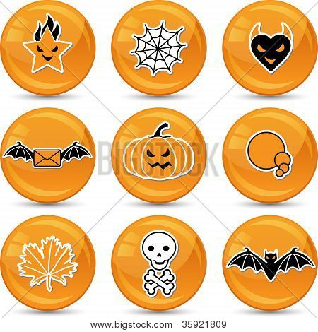 Set of glossy vector Halloween icons for your design.