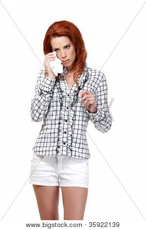 Portrait Of A Redhead Woman With Tissue