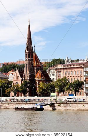 view of calvinist church in budapest from danube rive