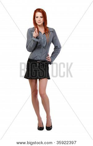 Redhead Woman Pointing At You