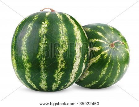Ripe Watermelons Berry Isolated On White