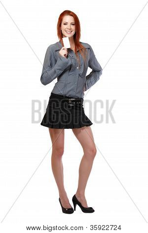 Beautiful Redhead Woman Holding A Blank Businesscard