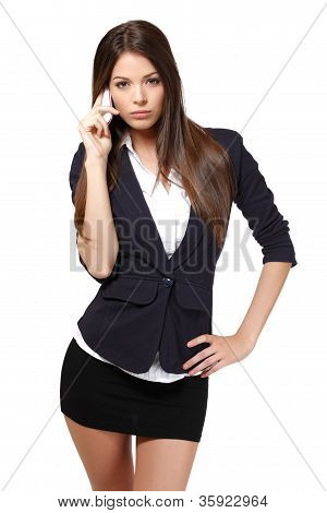 Serious Businesswoman With Cellphone