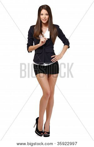 Slim Businesswoman With Businesscard Isolated On White