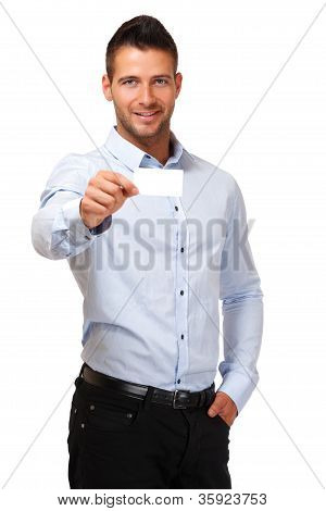 Handsome Businessman With Blank Businesscard