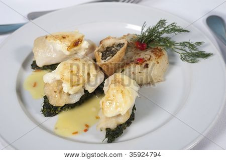 Fish And Spinach A La Carte Meal