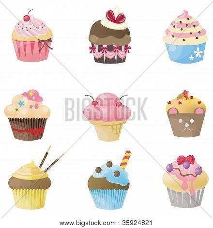 süße Cupcake mit 9 verschiedenen look