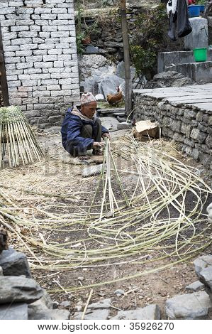 Nepalese Old Willow Man At Work
