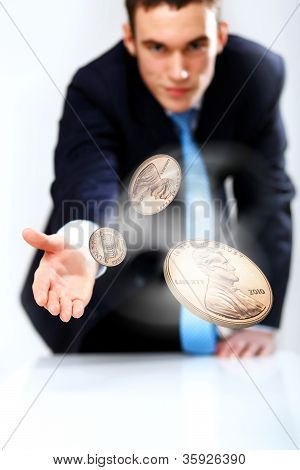 Coin as symbol of risk and luck