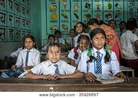Group Of Nepalese Pupils In A Class
