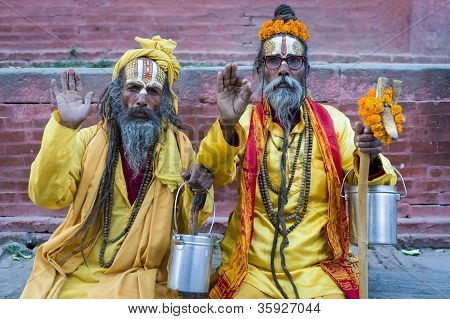 Ascetic monks Sadhu holy men