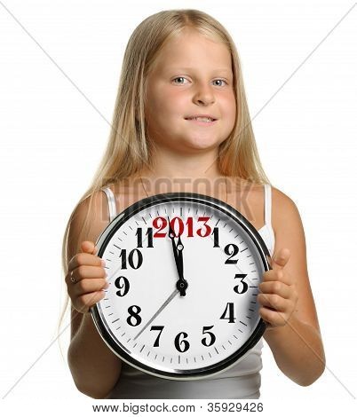 The Girl Hold In Hands A Big Clock With Figures 2013