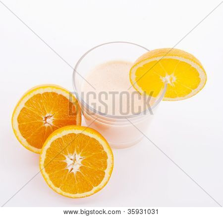 Fresh Tasty Orange Yoghurt Shake Dessert Isolated